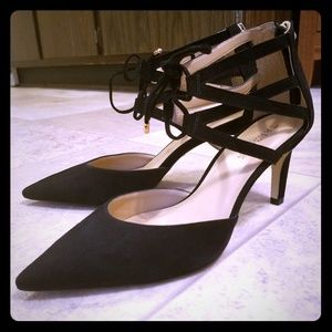 Talbots caged black suede tie pointed toe heels